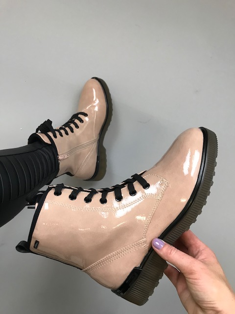 S.Oliver Lace Up Patent Boot  - Blush